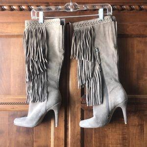 Healed fringe boots